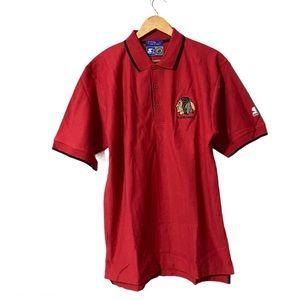 Starter Blackhawks PoloShirt Herringbone/Embroided